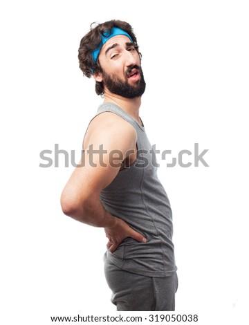 happy sport man back ache - stock photo