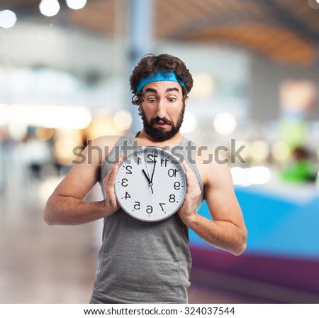 happy sport man with clock