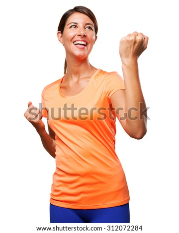 happy sport woman celebrating sign - stock photo