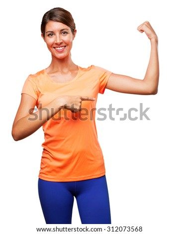 happy sport woman strong pose