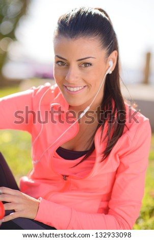 Happy Sporty Woman Listening Music, Outdoors