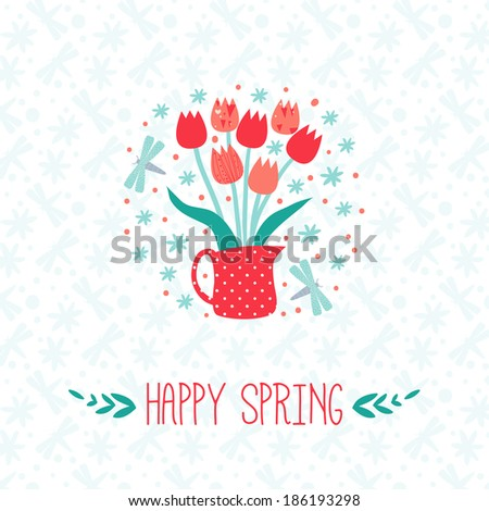 happy spring greeting card with tulip - stock photo