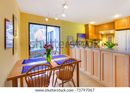 green and yellow kitchen happy dining room kitchen tulips stock photo 3964