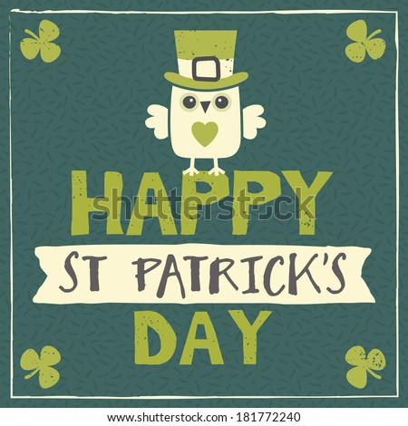 Happy St Patrick's Day card, menu or poster template with cute leprechaun owl sitting on text and ribbon banner. Raster version. - stock photo