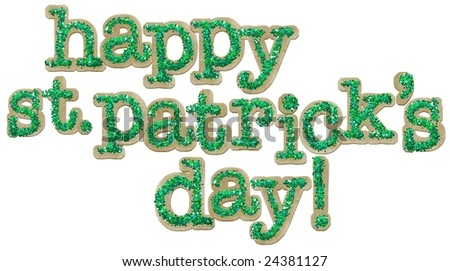 Happy St. Patrick's Day sign in chipboard and glitter