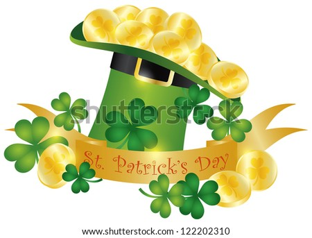 Happy St Patricks Day Banner with Leprechaun Hat Gold Coins and Shamrock Leaves Illustration Raster Vector