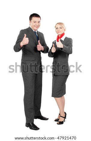 happy steward & stewardess making thumbs up aigns isolated on white background