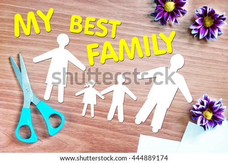 Happy strong family. Abstract conceptual image with paper scraps - stock photo