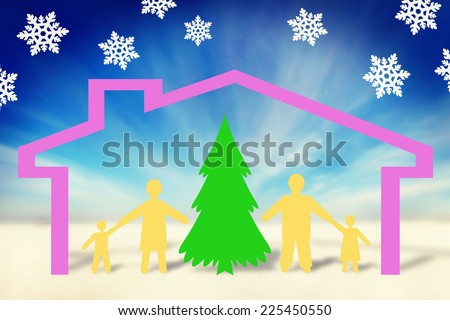 Happy strong family in New Year holiday. Concept made of paper characters - stock photo