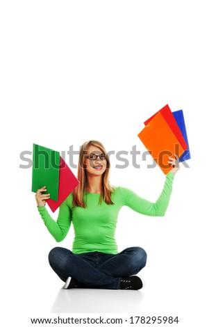 Happy student girl  portrait, isolated on white background - stock photo