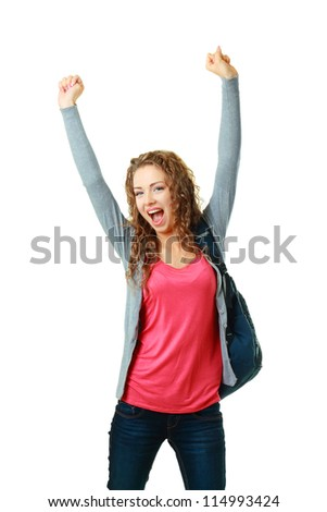 happy student girl raising her hands showing success - stock photo
