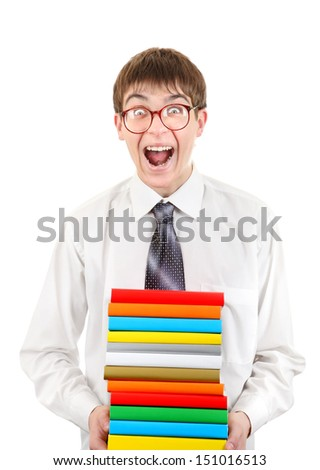 Happy Student Holding Pile of the Books Isolated on the White Background