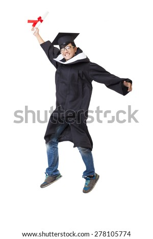 Happy  student in graduate robe jumping against white background - stock photo