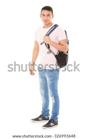 happy student wearing a backpack on a white background