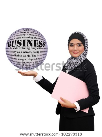 Happy successful business muslim woman with business text info and concept. Isolated over white background