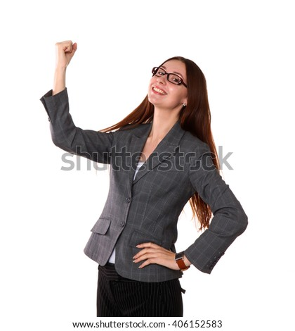 Happy successful business woman. Isolated on white background.