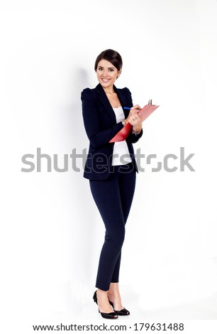 Happy successful business woman with red folder on white background - stock photo