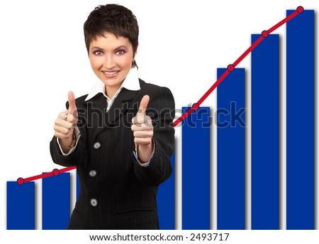 Happy successful businesswoman in front of diagram.