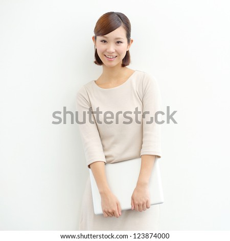Happy successful japanese woman