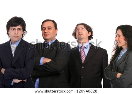 happy sucessfull businessteam isolated white background - stock photo