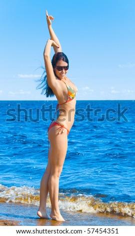 Happy Summer Beach Gal - stock photo