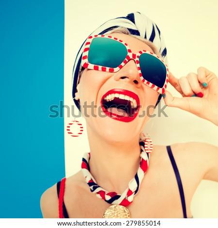 Happy Summer Lady. Vacation, Sea, Emotions - stock photo