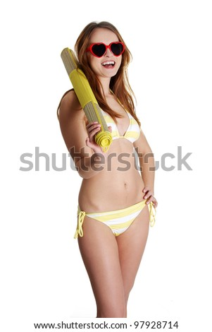 Happy summer woman in bikini isolated in studio. - stock photo