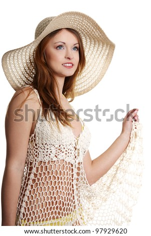 Happy summer woman isolated in studio. - stock photo