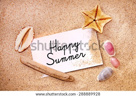 Happy summer written on a note on white beach sand, starfish and shells - stock photo