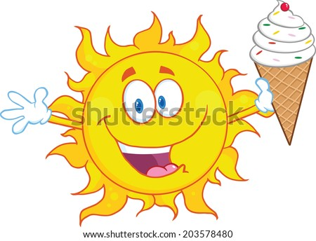 Happy Sun Cartoon Mascot Character Holding A Ice Cream. Raster Illustration - stock photo