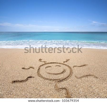 happy sun on the beach with clear sky - stock photo