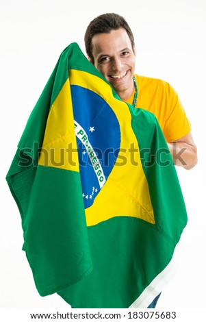 Happy supporter with the Brazilian flag