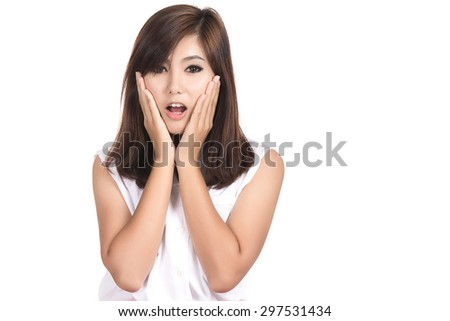 Happy surprised excited asian woman covering with hands her mouth with blank copy space,Thai girl,isolated on white background