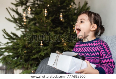 Happy Surprised Pretty Toddler Girl Christmas Stock Photo (Royalty ...