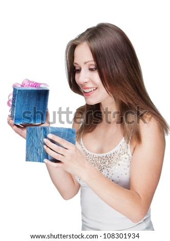 Happy surprised woman with a present box  isolated on white background - stock photo
