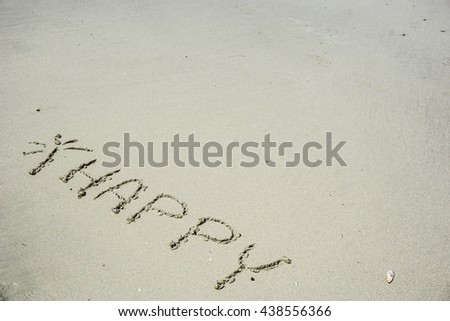 Happy Symbol On Beach Right Space Stock Photo 438556366 - Shutterstock