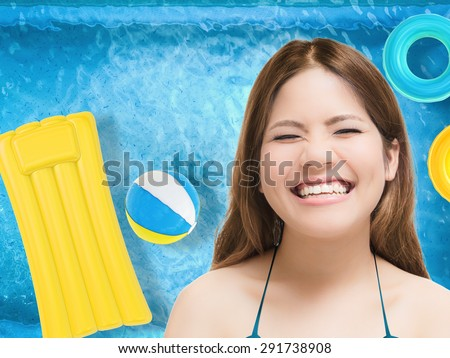 happy tanned woman - stock photo