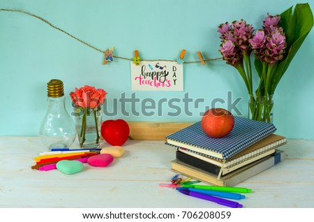 Happy teachers day concept calligraphy handwriting stock photo happy teachers day concept calligraphy handwriting greeting words for teachers on white card hanging on m4hsunfo