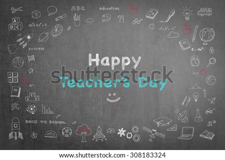 Happy teacher's day concept with smiley face icon message on black chalkboard and doodle freehand sketch chalk drawing: Students sending greeting message to school teachers on special occasion   - stock photo