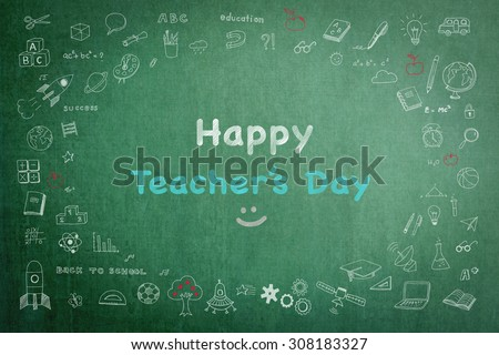 Happy teacher's day concept with smiley face icon on green chalkboard and doodle freehand sketch chalk drawing: Students sending greeting message to school teachers/ academia on special occasion