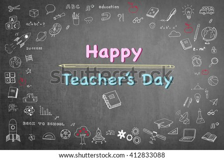 Happy teacher's day text message on black chalkboard background wi/ cute doodle freehand sketch chalk drawing icon: Student's greeting for school lecturer academia: National teacher appreciation week  - stock photo