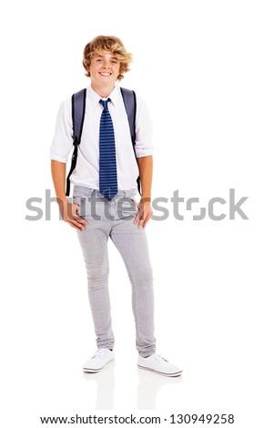 happy teen boy studio portrait on white background - stock photo