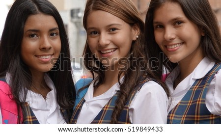 Happy Teen Female Students
