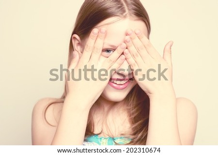 Happy teen gir smiling andl having  fun - stock photo
