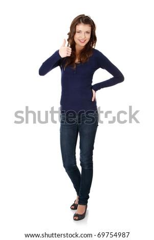 Happy teen girl gesturing ok, isolated on white - stock photo