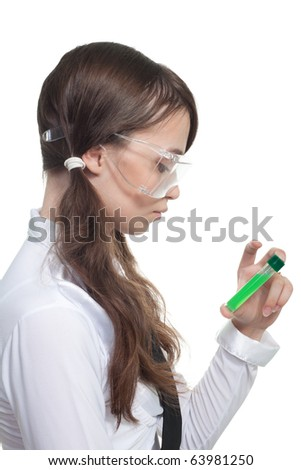 Happy teen girl with test tube