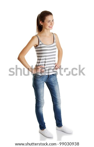 Happy teen student girl, isolated on white background - stock photo