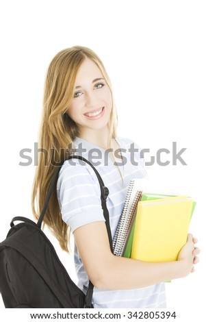 Happy teen student with books - stock photo