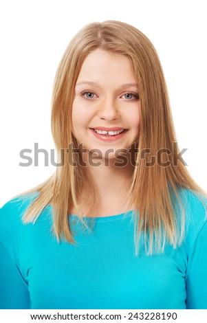 Happy teen woman with toothy smile - stock photo