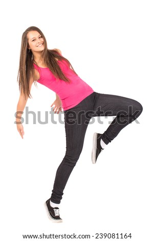 Happy Teenage Attractive Girl Leap Right Isolated On White - stock photo